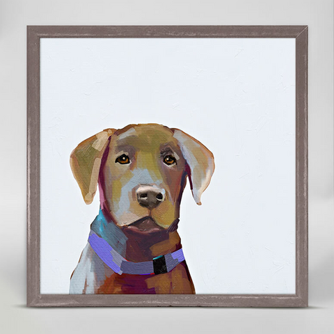 Chocolate Lab Mini Framed Canvas