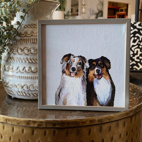 Border Collies Mini Framed Canvas