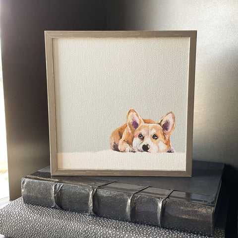 Contemplative Corgi Mini Framed Canvas