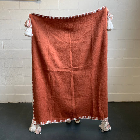 Tassel & Trim Throw - Rust