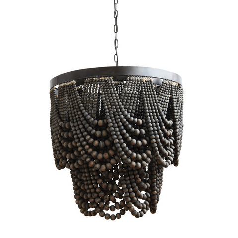 Metal and Wood Bead Chandelier