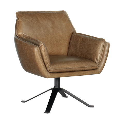 Newell Leather Swivel Club Chair