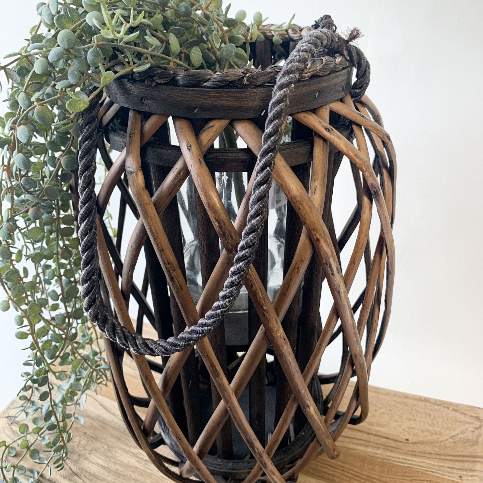 Willow Lantern w/ Glass - Small