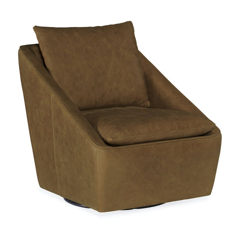 Pratt Leather Swivel Club Chair