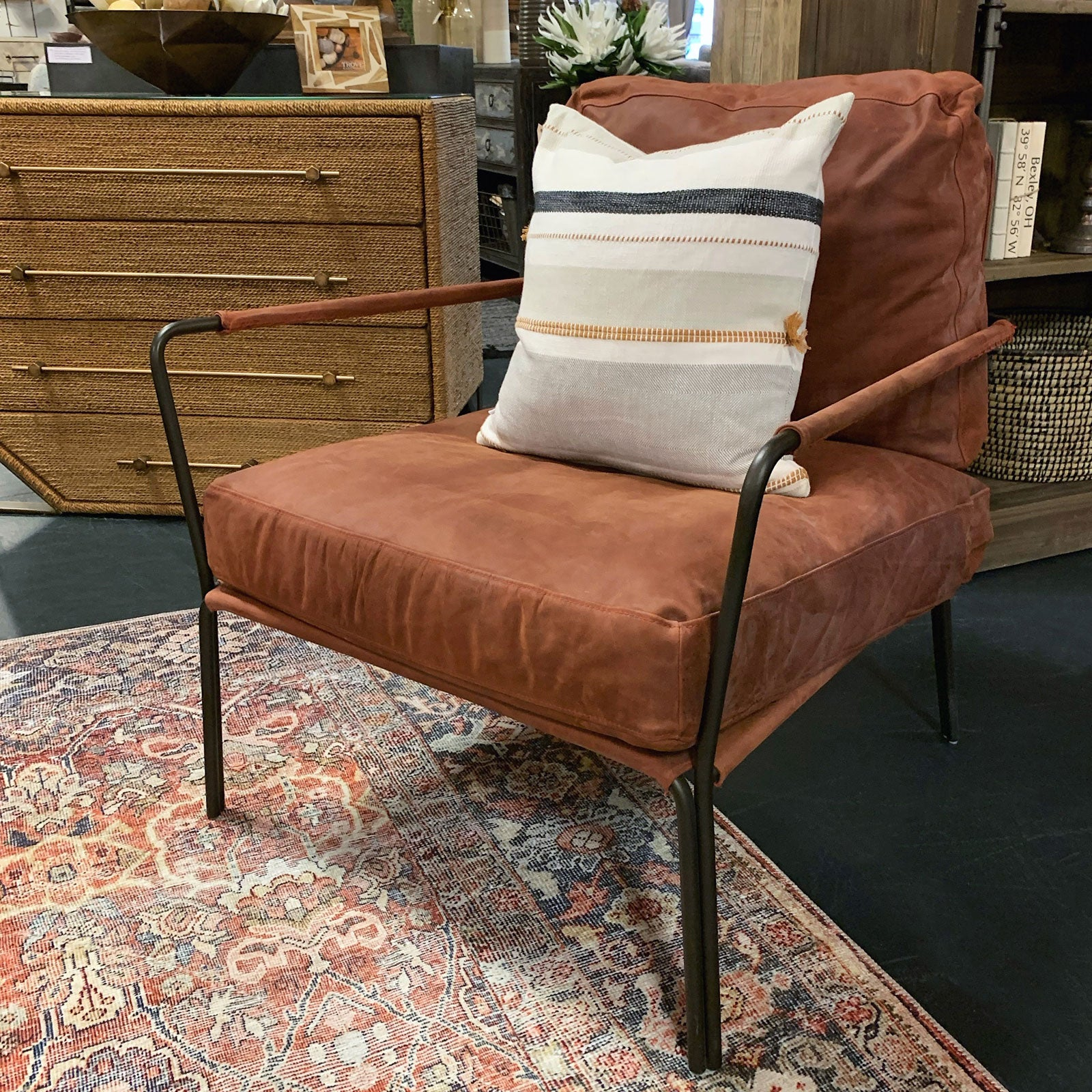 Rust Leather and Exposed Iron Accent Chair