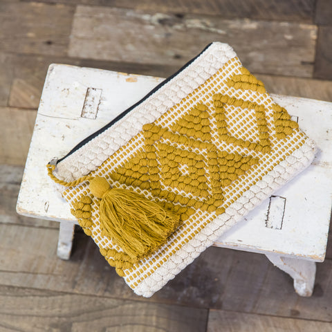 Handloomed Clutch- Cream & Mustard