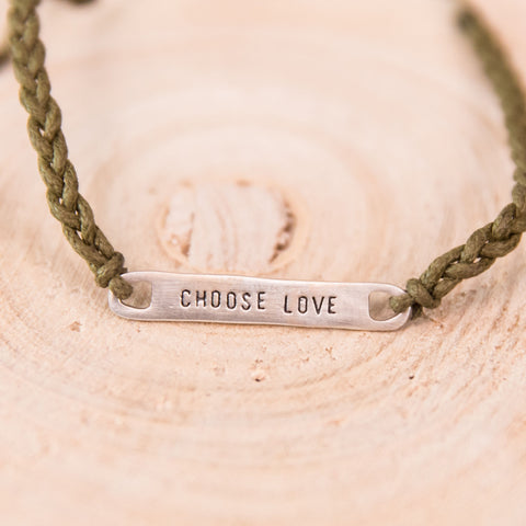 Braided Choose Love Bracelet- Olive