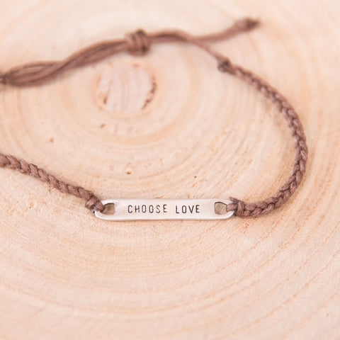 Braided Choose Love Bracelet- Brown