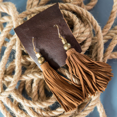 Suede Tassel Earring - Chocolate