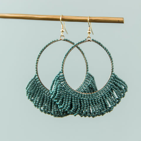 Beaded Fringe Hoop Earring- Teal