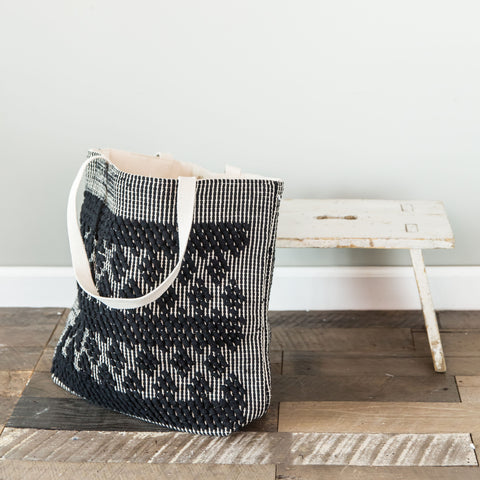 Handloomed Diamond Tote- Cream & Black