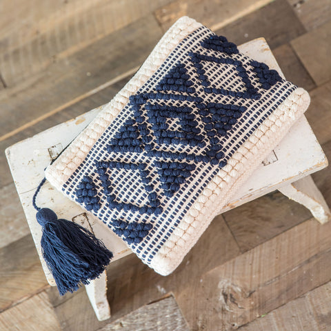 Handloomed Clutch- Cream & Navy