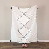 Woven Cotton Throw- Navy & Cream