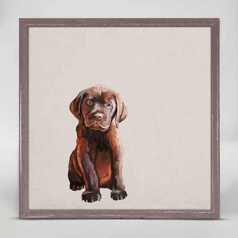Brown Lab Puppy Mini Framed Canvas