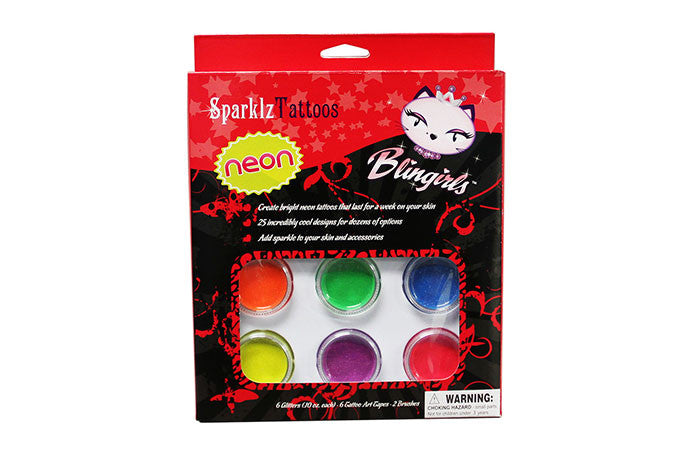 SparklzTattoos Kit - Neon with 10-Pack Assorted Tattoo Sheets
