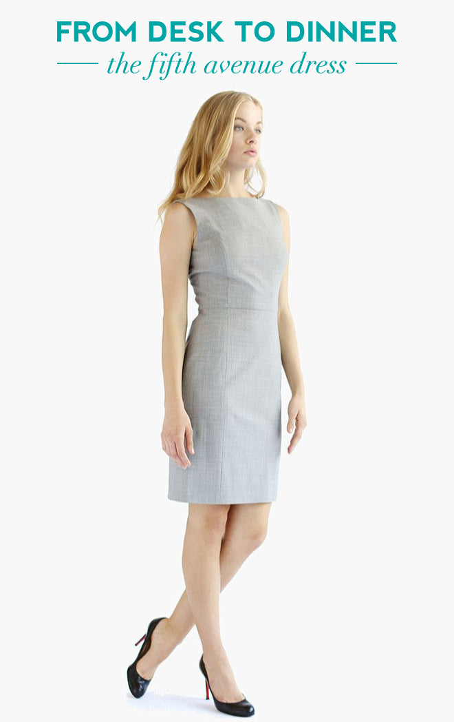 Desk To Dinner | Of Mercer | Grey Fifth Avenue Sheath Dress | Italian Wool
