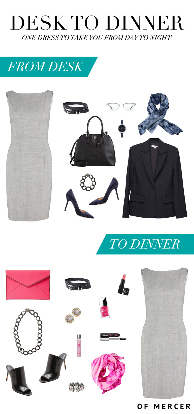 Desk To Dinner In Of Mercer's Grey Fifth Avenue Sheath Dress