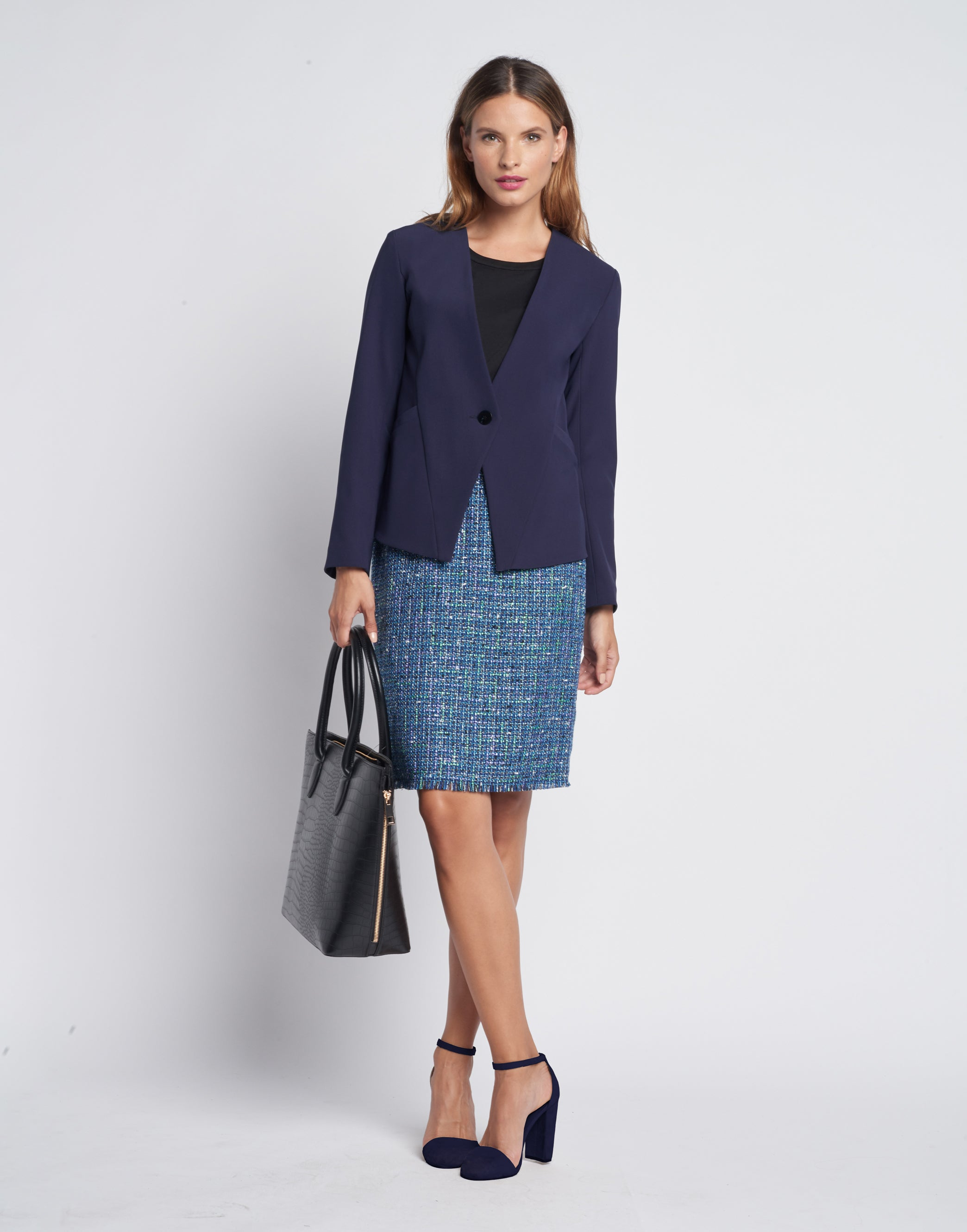 How to Style A Tweed Skirt: Business Formal