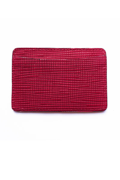 Magenta Leather Card Case | Of Mercer | Front View