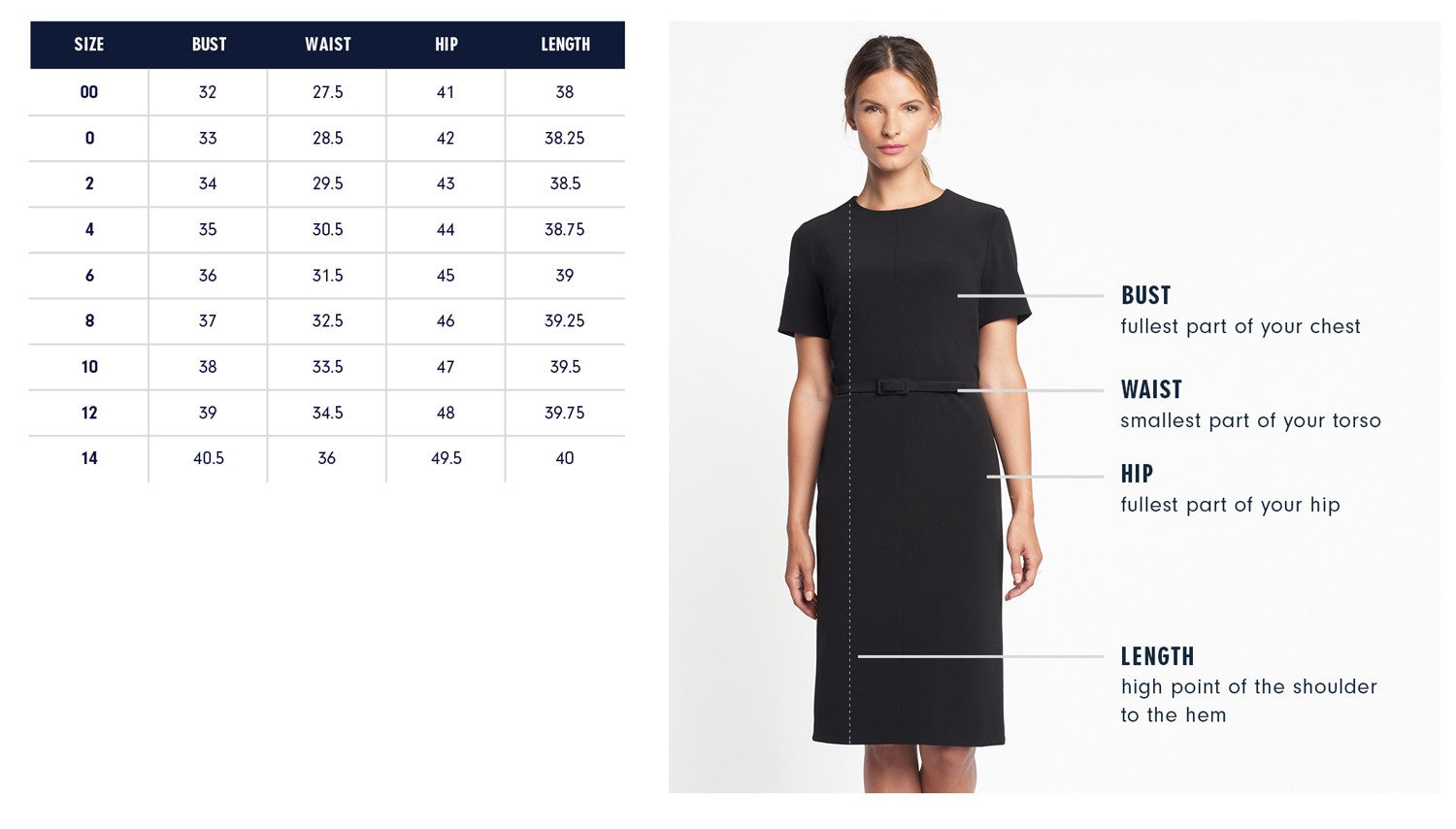 Minetta Dress Size Chart | Of Mercer