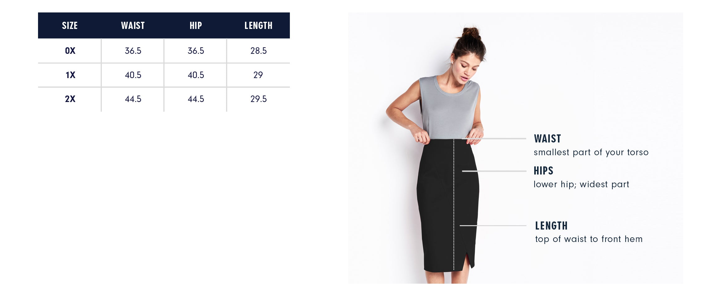 Of Mercer | Beatrice Skirt Plus | Size Guide
