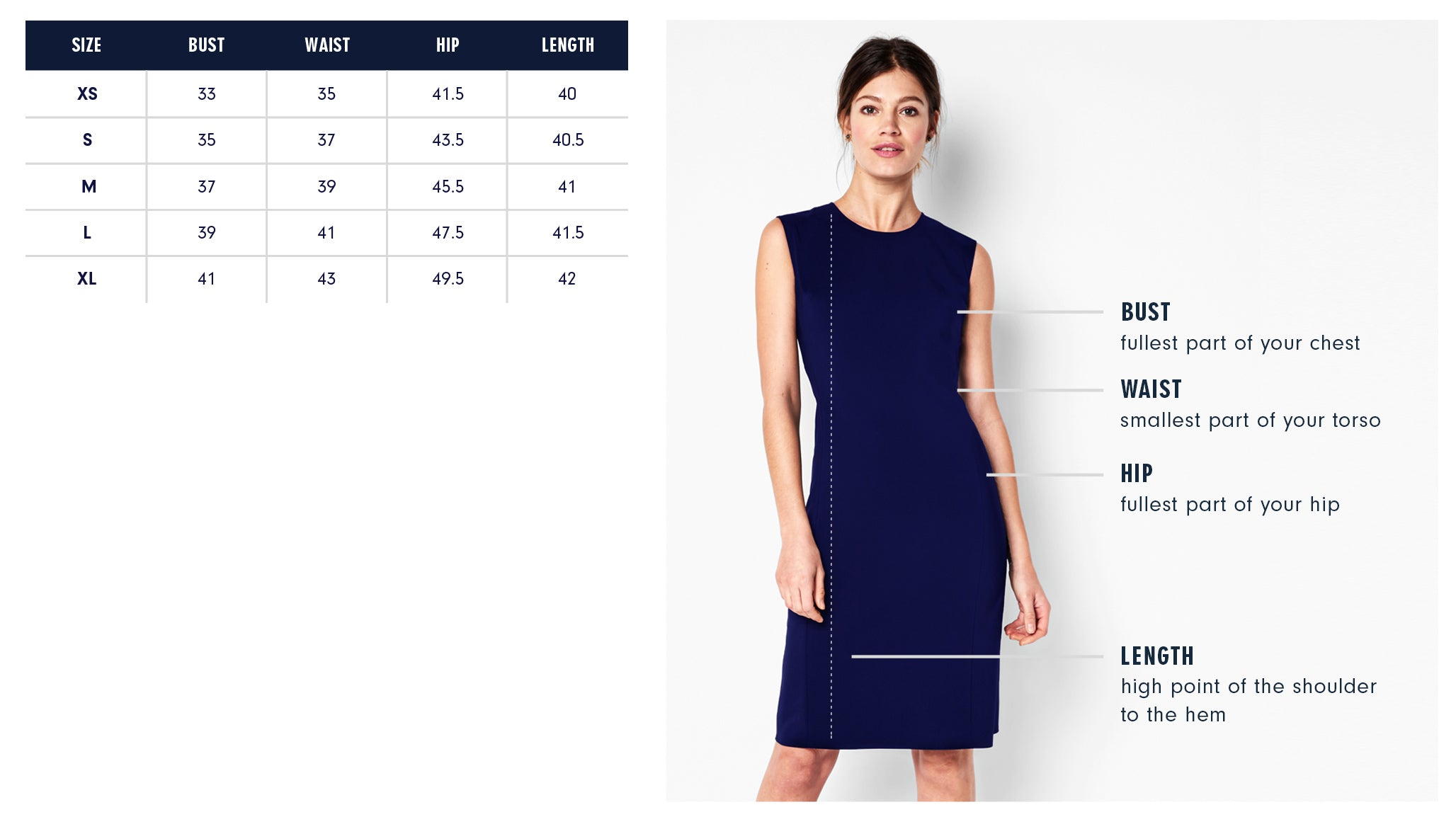 Hester Dress Size Guide