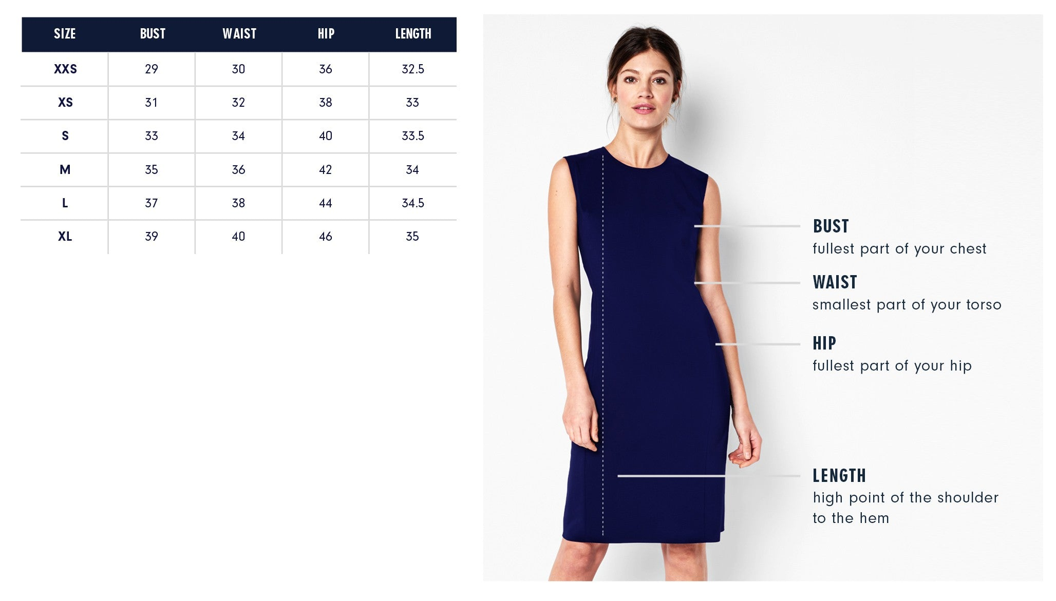 Of Mercer Mott Dress Size Chart