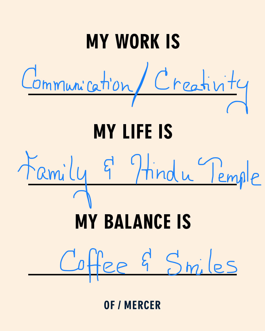 My work is, my life is, my balance is