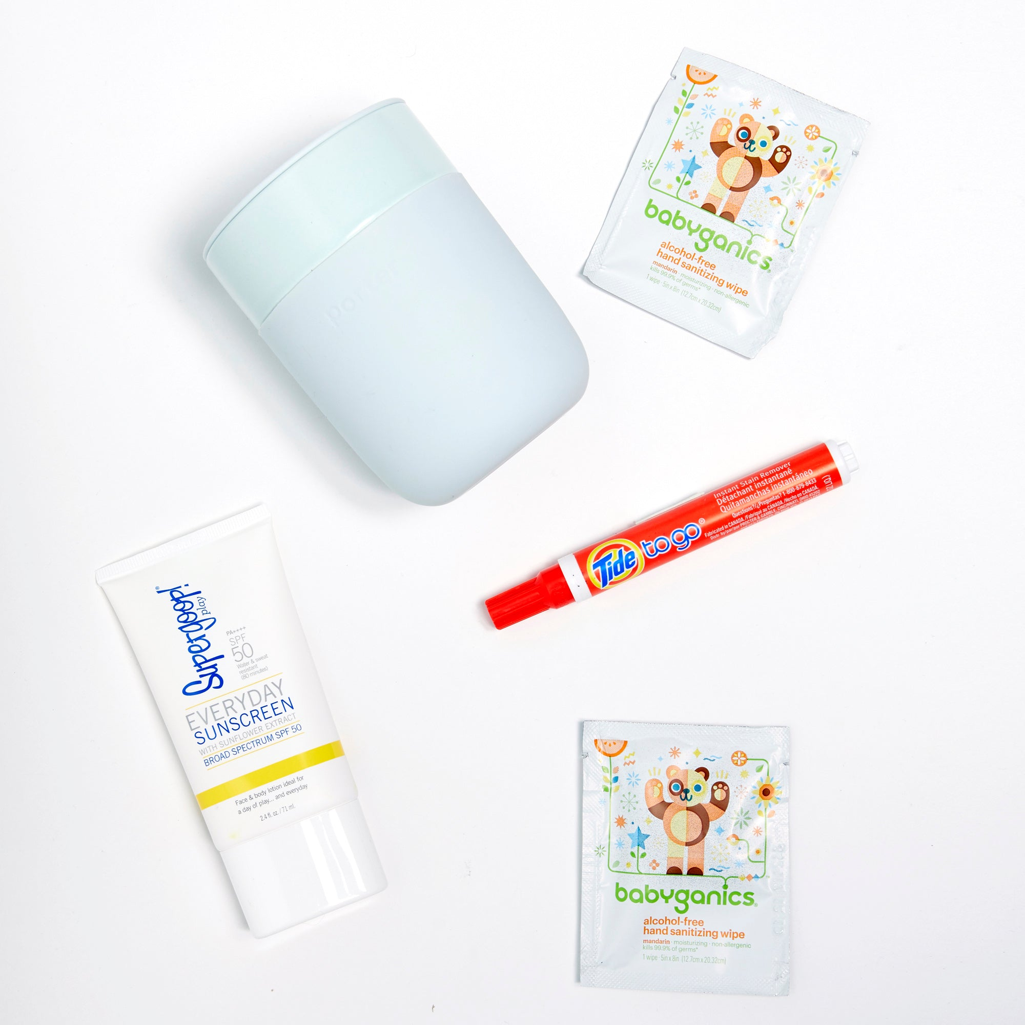 Tide-to-go, Babyganics wipes, Supergoop Everyday Sunscreen, Cup