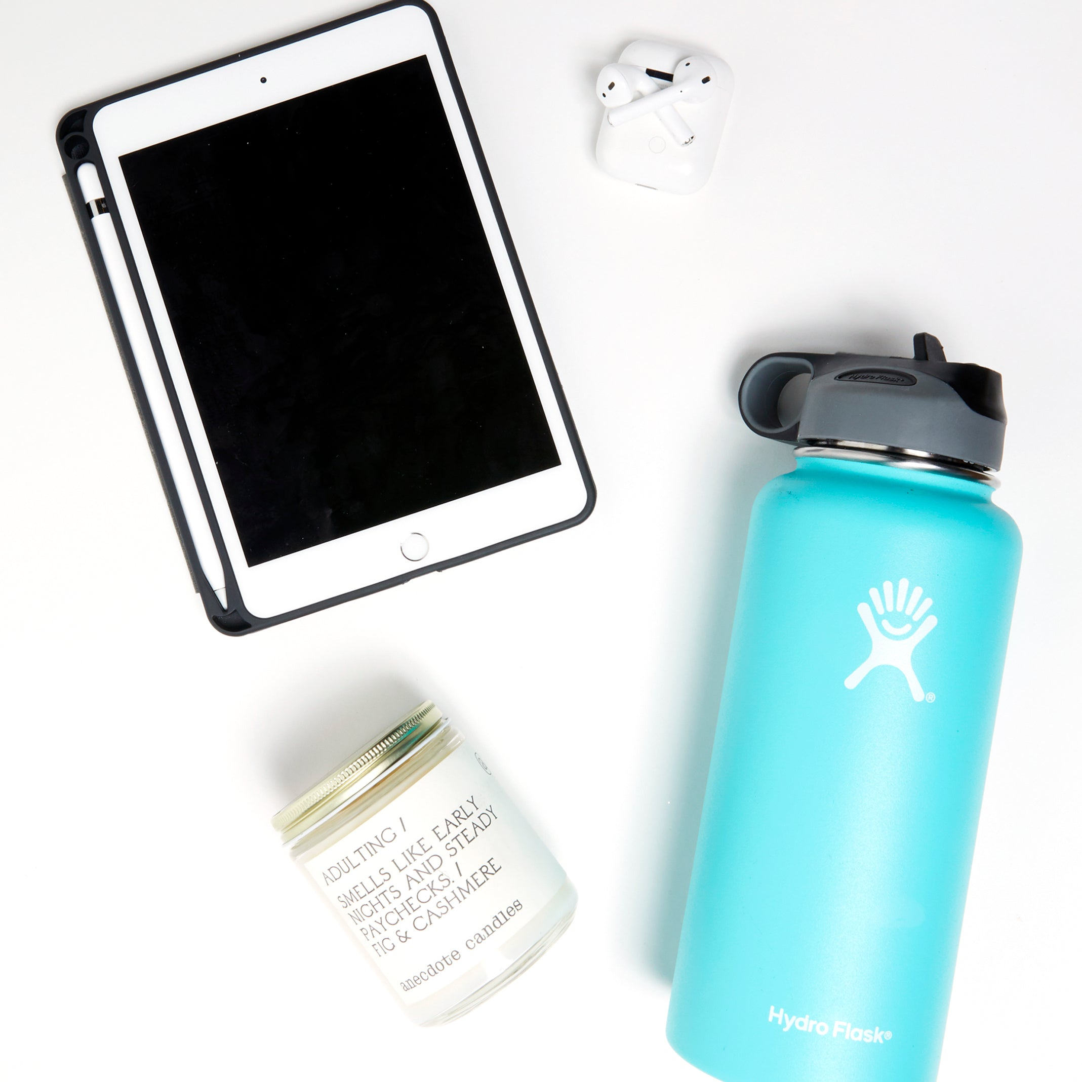 iPad, Airpods, Hydro Flask, Anecdote Candle