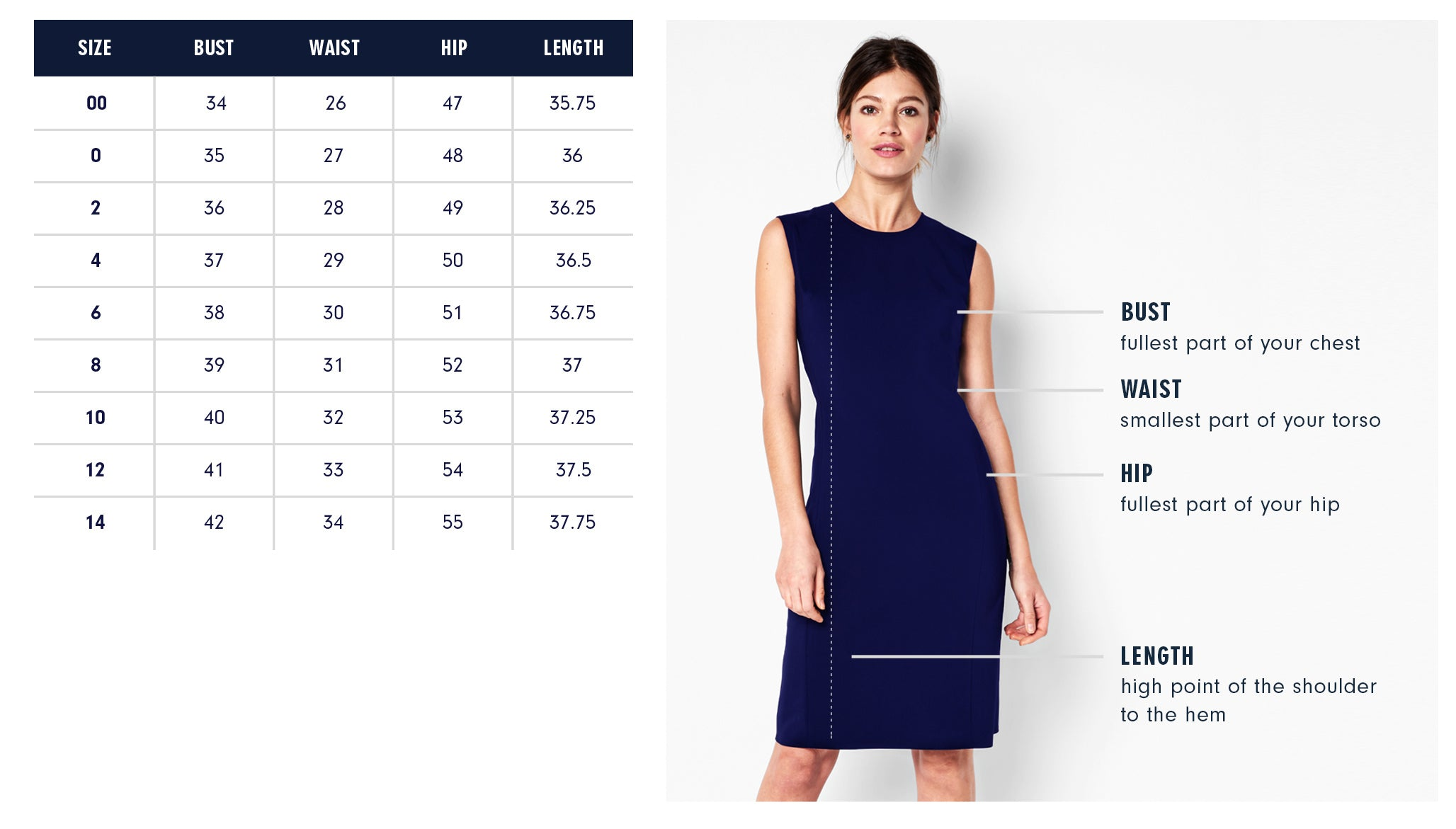 Vestry Dress Size Guide