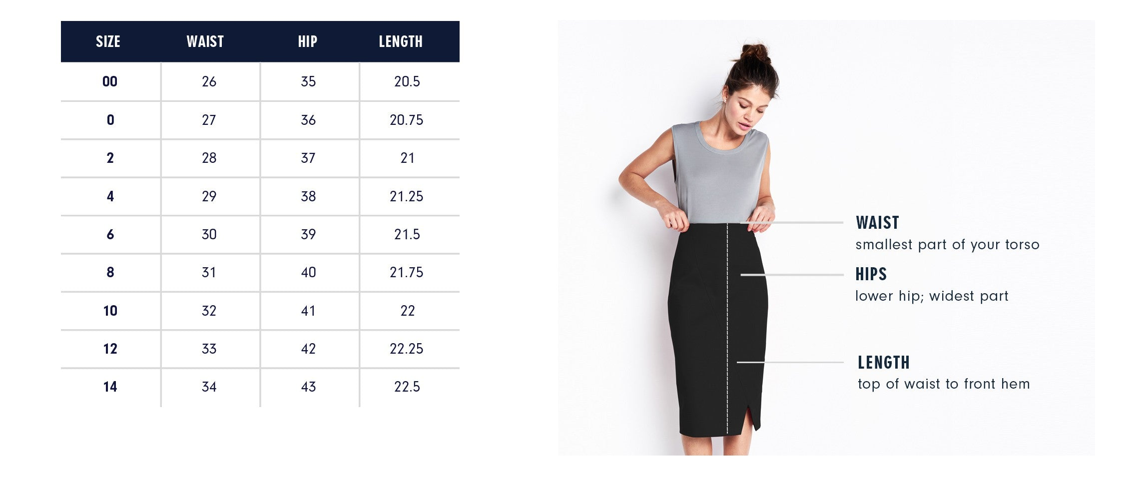 Of Mercer Navy Franklin Skirt Size Chart