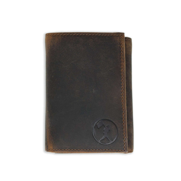 Flag Man Badge Trifold Glove Leather Wallet - Oak