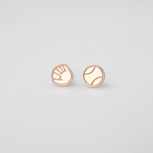 Ball and Glove Earrings - Rose Gold