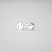 Ball and Glove Earrings - Silver