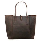 Vintage Glove Leather Tote - Dark Chocolate