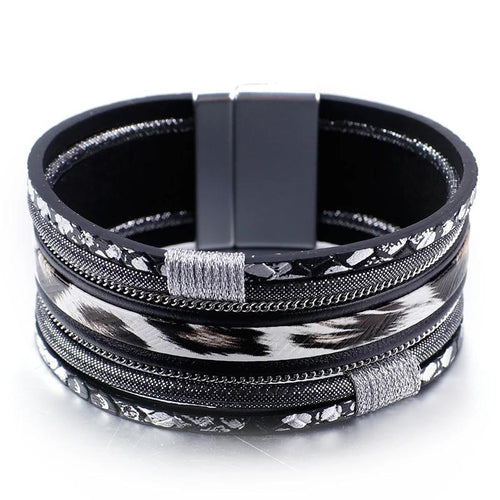 Black Leopard Leather Bracelet