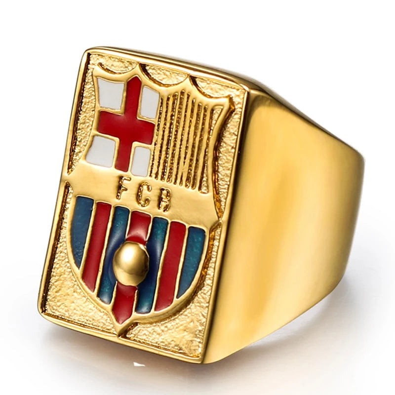 Barcelona Crown Epoxy Gold Ring (High Quality Titanium)