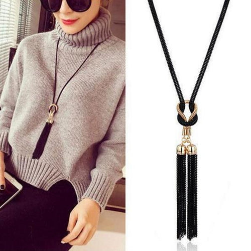 Black Chain Bow Tassel Choker Necklace for Woman