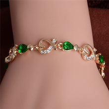 Load image into Gallery viewer, Austrian Crystal Fashion Heart Chain Bracelet