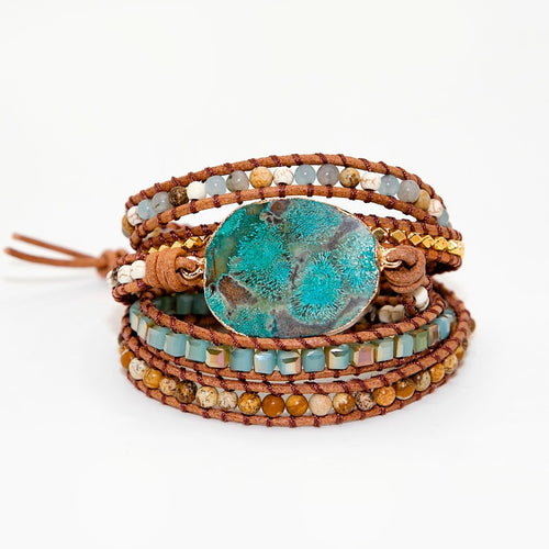 Blue Gothic Stone Leather Bracelet
