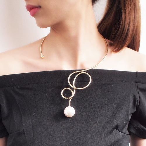 Pearl Alloy Torque Choker Necklaces For Women