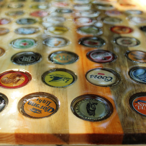 Custom Bottle Cap Cutting Board