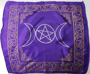 Purple Triple Moon Pentagram Altar Cloth
