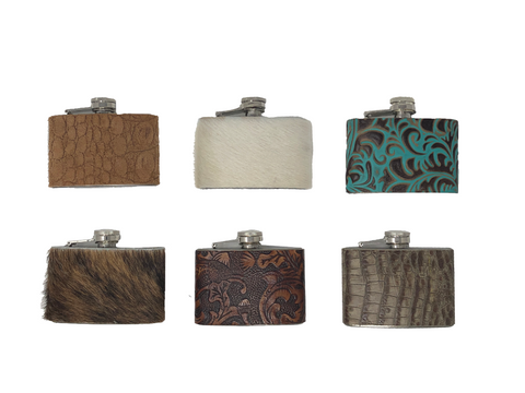 Handmade Leather/Cowhide Wrapped Flask - 4oz