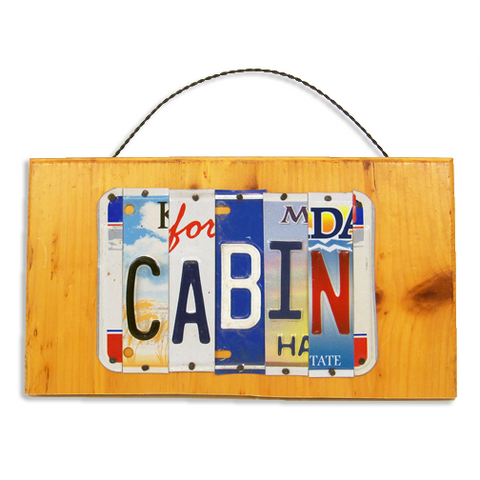 "License Plate ""Cabin"" Sign"