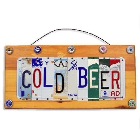 "License Plate ""Cold Beer"" Sign"