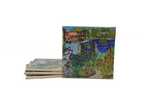 Heidi Hensley Blowing Rock Mural - Coaster Set of 4