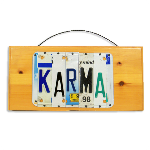 "License Plate ""Karma"" Sign"