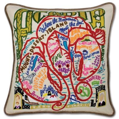 Acadia Hand Embroidered CatStudio Pillow